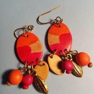 Adorable coral dangling  earrings